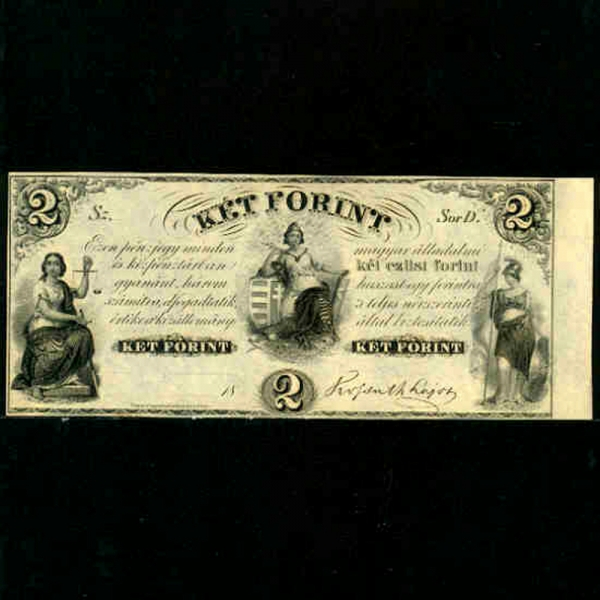 HUNGARY-헝가리-S142-LIVERTY.JUSTICE-2 FORINT-1852년