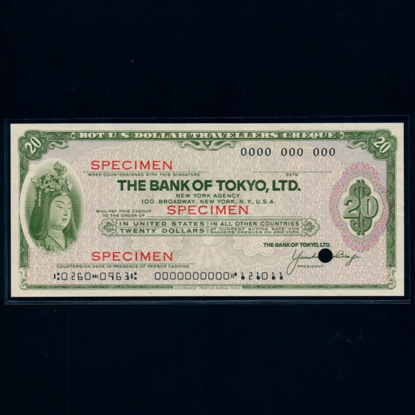 JAPAN-일본-TRAVEL CHEQUE-SPECIMEN-20 DOLLARS-2000년